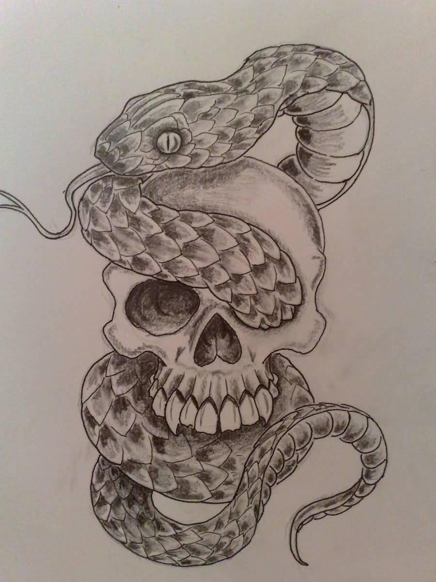 Skullman's art world: Skull Snake Tattoo Sketch |Snake Tattoo Sketches