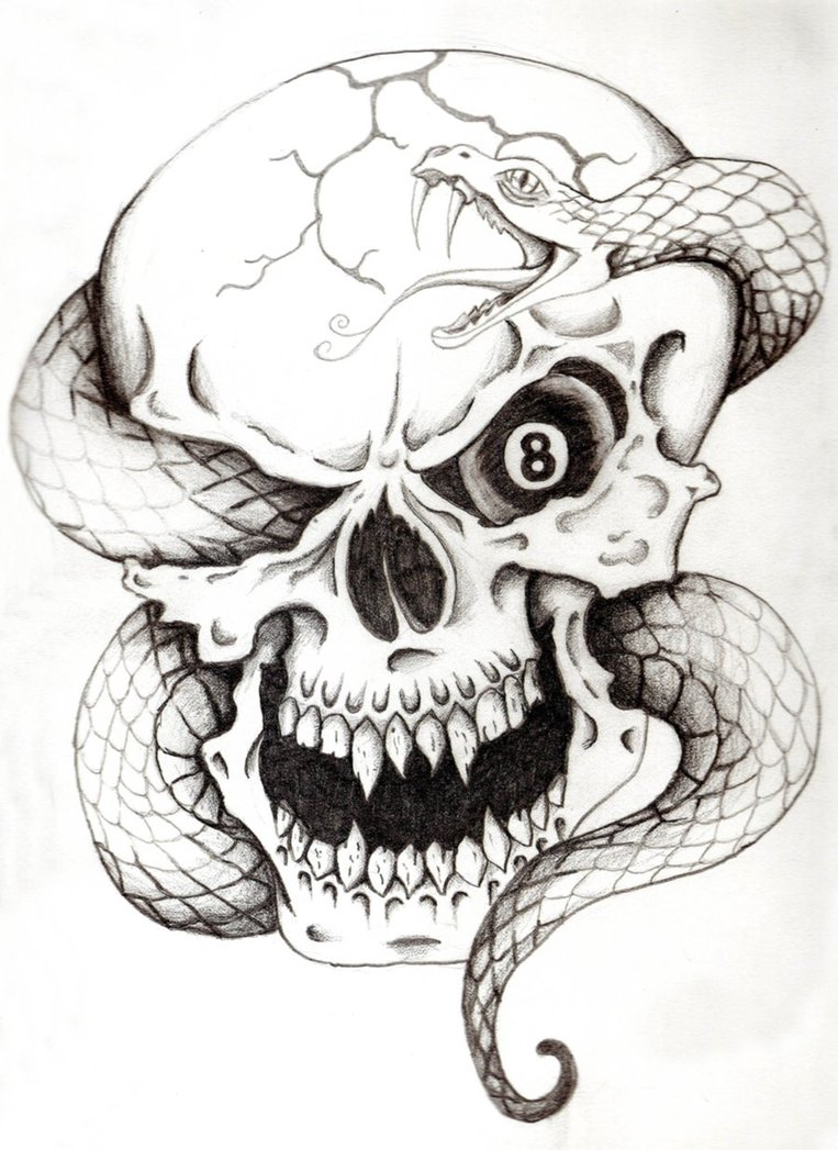 35+ Amazing Skull And Snake Tattoos