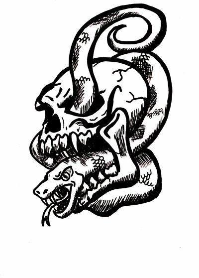 30 Snake Skull Tattoos Design