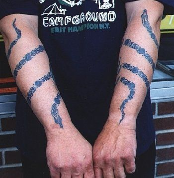 2df312a4e Black Ink Snake Tattoo On Wrapped Around Both Arm