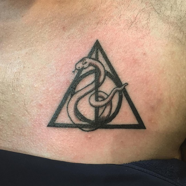 Black Ink Snake With Deathly Hallow Symbol Tattoo Design