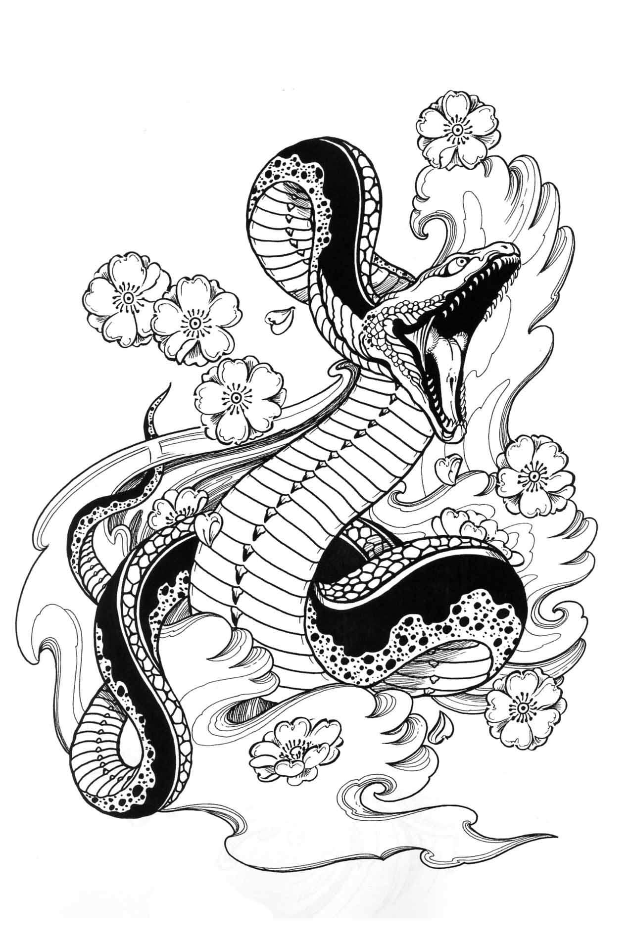 Black Ink Snake With Flowers Tattoo Stencil