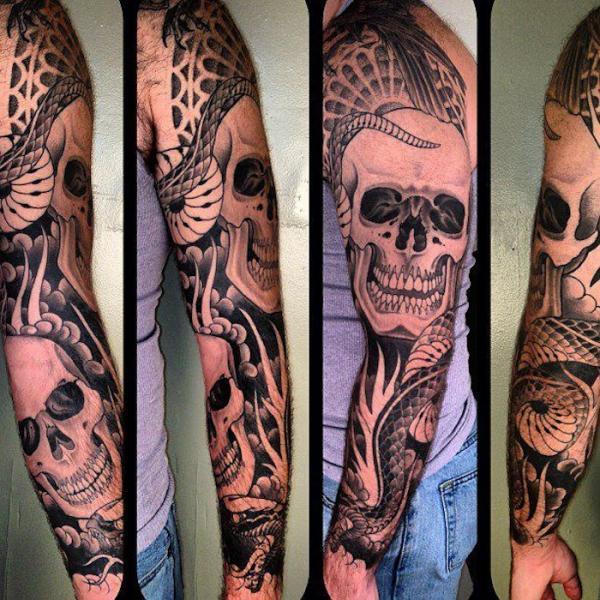 Snake Skull Tattoo: 63+ Snake Tattoos On Sleeve