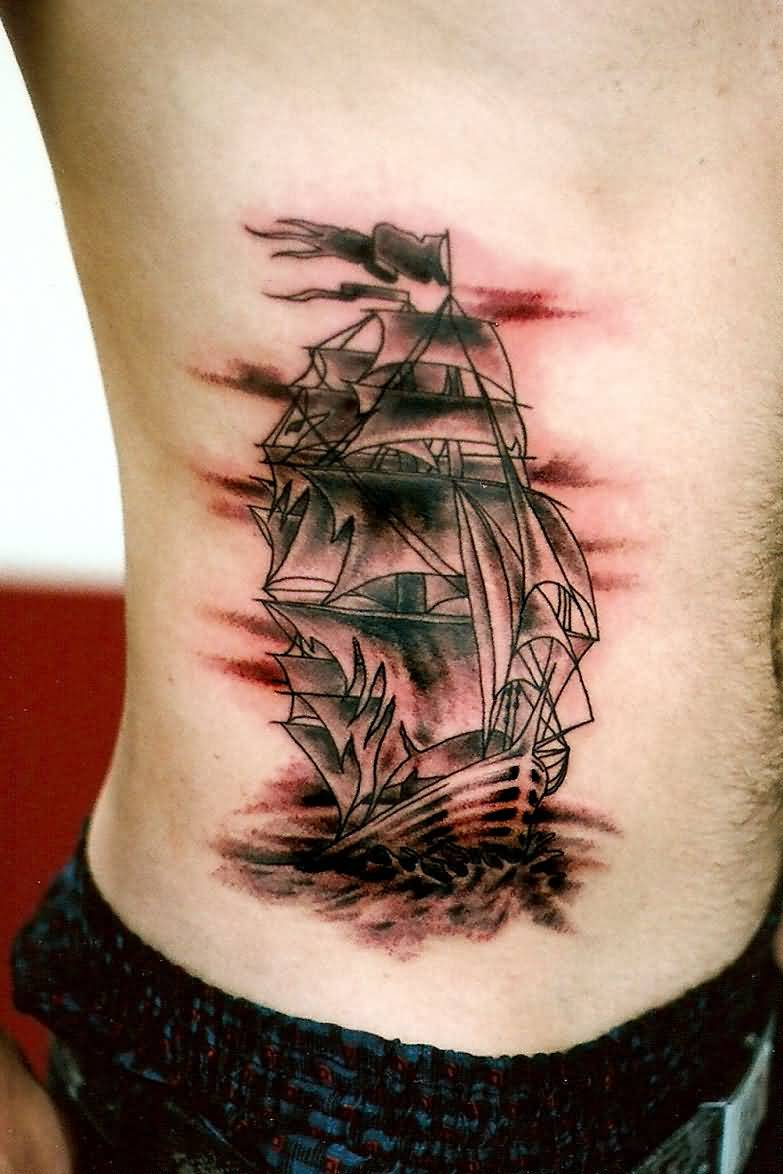Traditional Pirate Ship Tattoo On Left Leg Calf