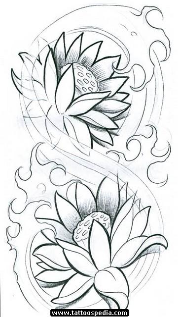 Black Ink Two Lotus Flowers Tattoo Stencil