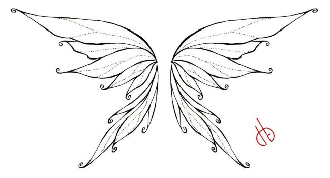black outline fairy wings tattoo stencil by bakero ichiban