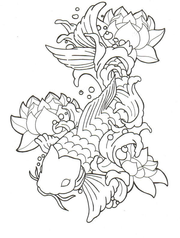 Black outline koi fish with lotus flowers tattoo stencil for Koi fish tattoo designs