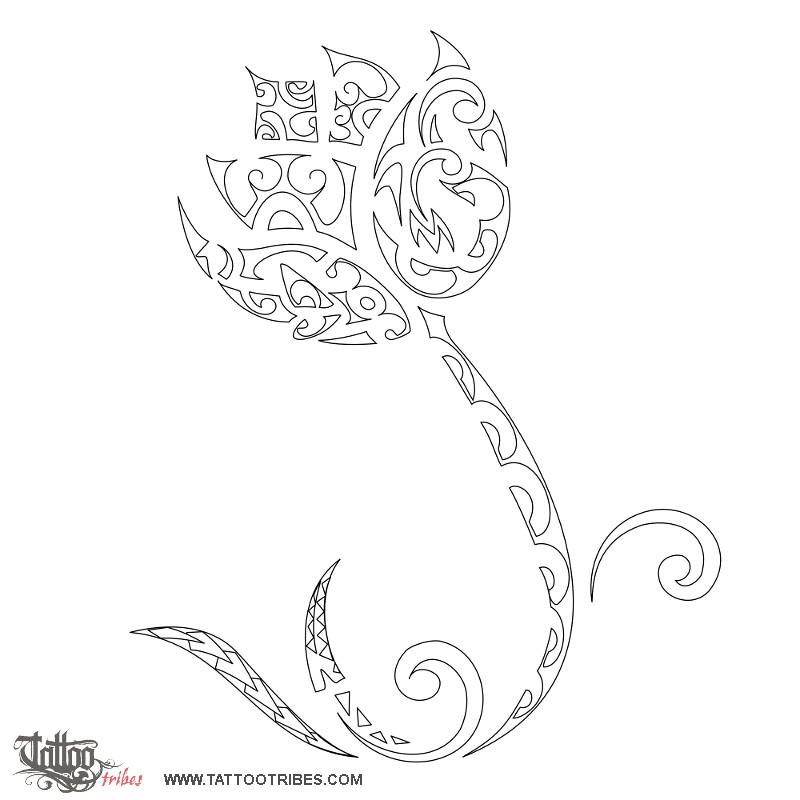 Black Outline Tribal Lotus Flower Tattoo Stencil