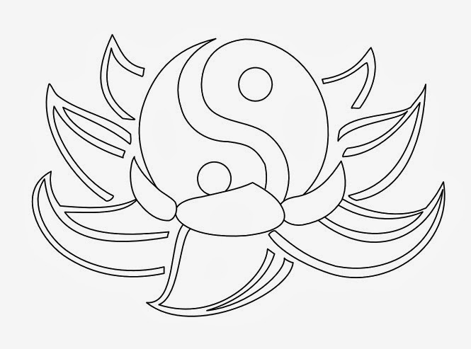 Black Outline Yin Yang With Lotus Flower Tattoo Stencil