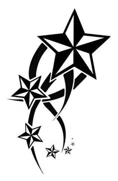 Black Tribal And Nautical Star Tattoo Design Sample