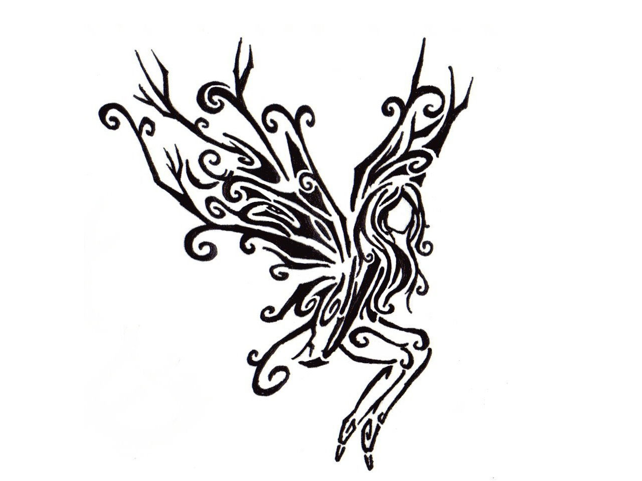 Fairies tattoos designs - Black Tribal Flying Fairy Tattoo Design For Girl