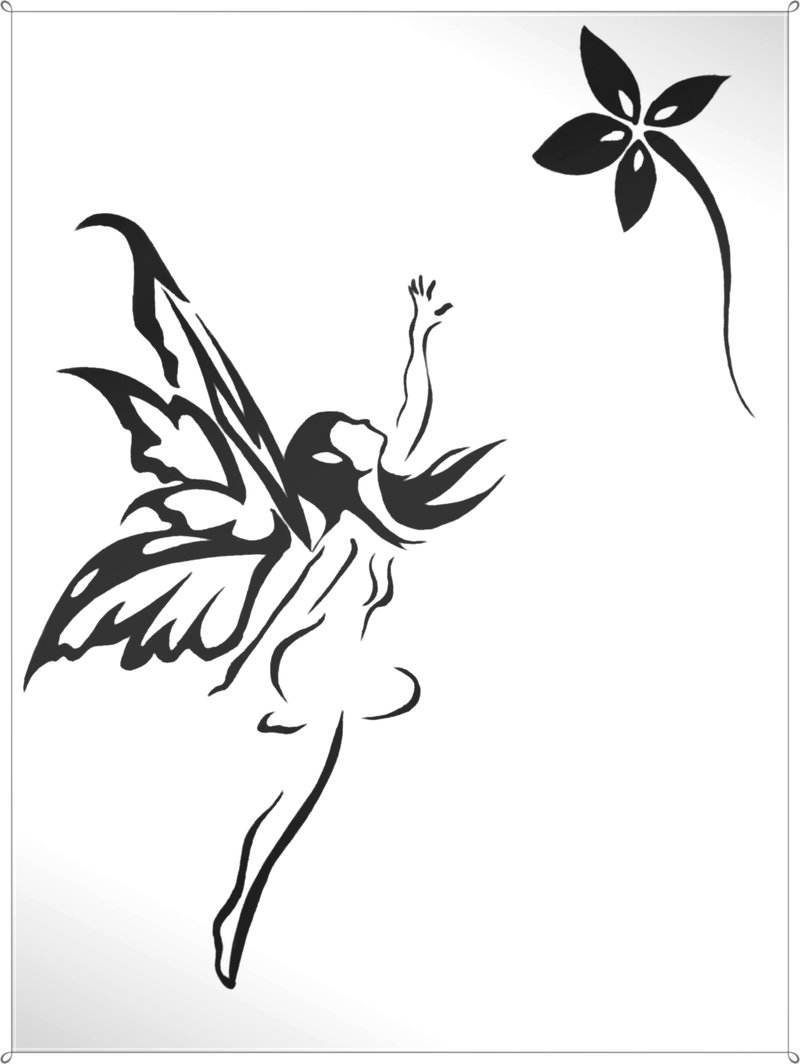 Black Tribal Small Fairy With Flower Tattoo Design