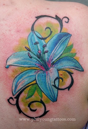 Blue Flower Tattoo Designs: 61+ Lily Flowers Tattoos Collection