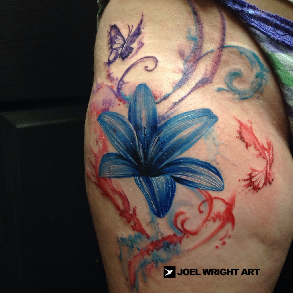 3bc54d5fd81a2 Blue Watercolor Lily Flower Tattoo On Side Rib