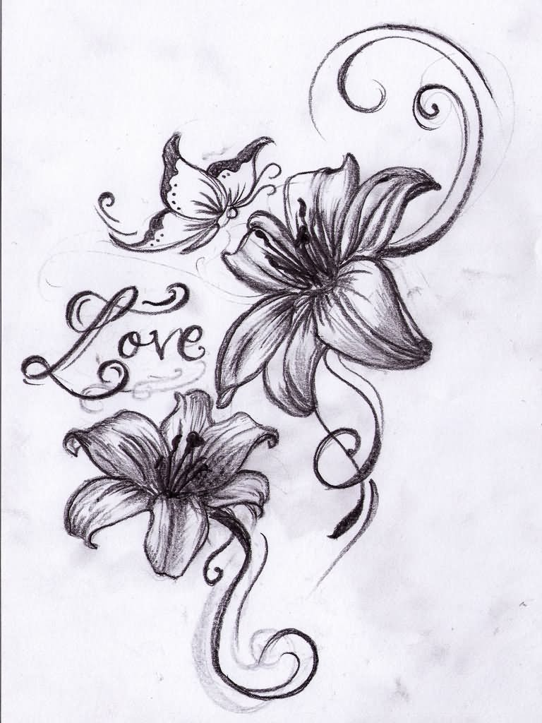 Butterfly And Lily Flowers Tattoo Design