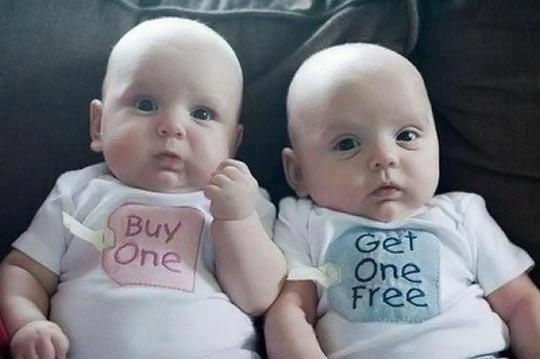 Buy One Get One Free Funny Twin Babies