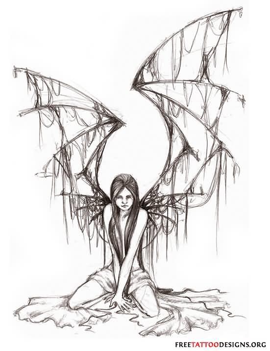 9acaaf1f9 Classic Black And Grey Gothic Fairy Tattoo Design