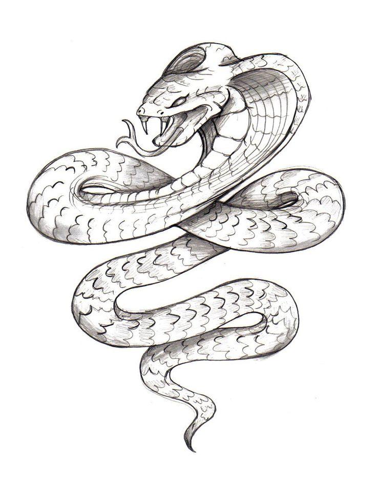 Classic Black Ink Cobra Snake Tattoo Design By Zaphrozz