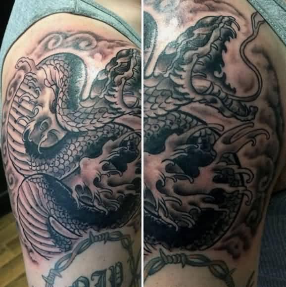 1bc77413b Classic Black Ink Cobra Snake Tattoo On Right Half Sleeve