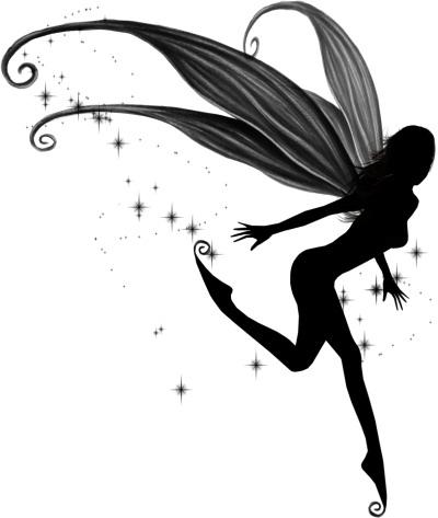 3154f148e Classic Black Ink Flying Fairy Tattoo Design