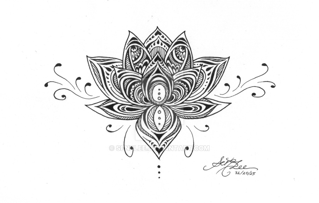 Black Ink Lotus Flower Tattoo On Ankle