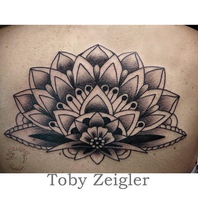 Classic Black Ink Mandala Lotus Flower Tattoo Design