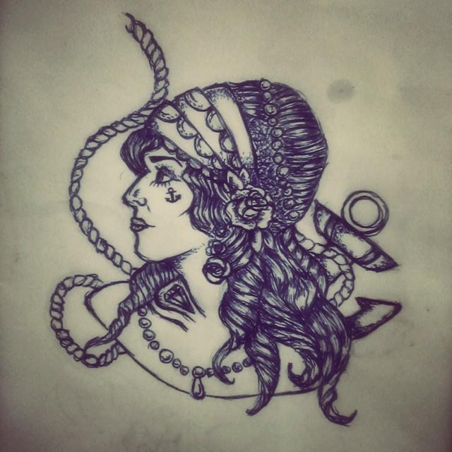 7c2a7bc9a Classic Black Ink Pirate Girl Tattoo Design
