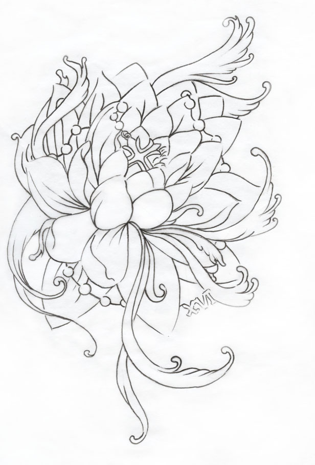 Lotus flower outline pictures flowers healthy clic black outline lotus flower tattoo design mightylinksfo