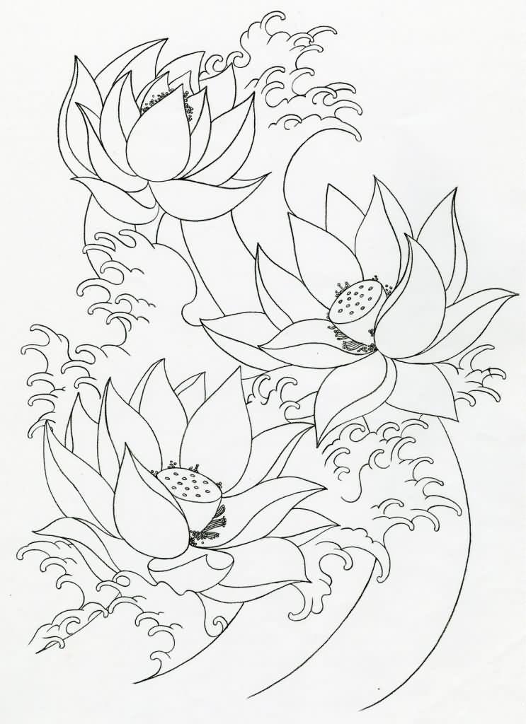 33 lotus tattoo stencils designs. Black Bedroom Furniture Sets. Home Design Ideas
