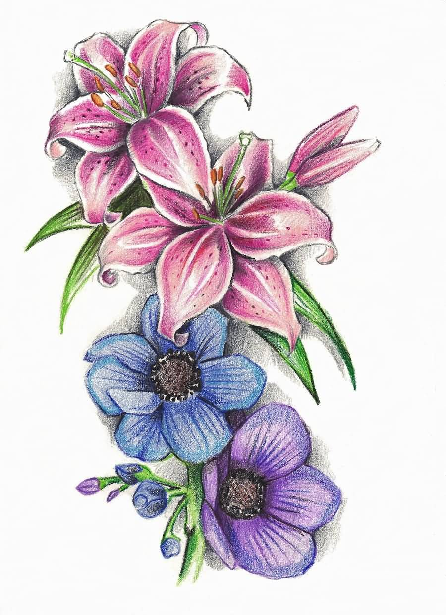 Color Flowers And Lily Tattoo Design