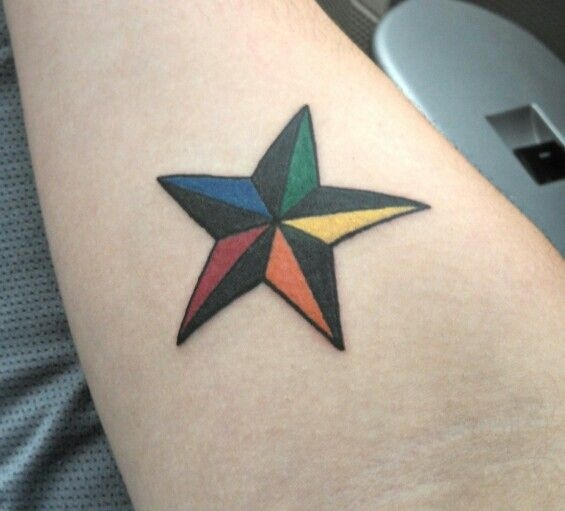Water splash and nautical star tattoo for men for Mens star tattoo