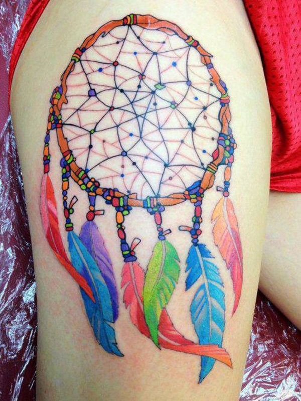 56+ Awesome Colorful Dreamcatcher Tattoos