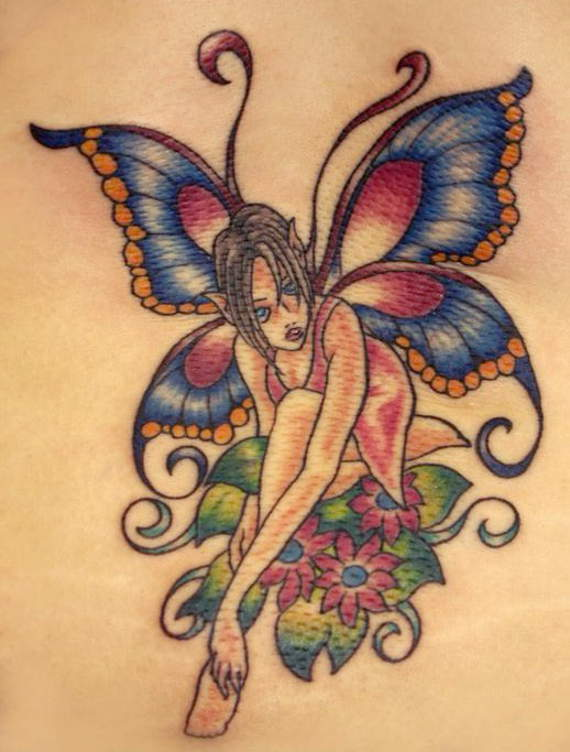 colorful fairy on flowers tattoo design. Black Bedroom Furniture Sets. Home Design Ideas