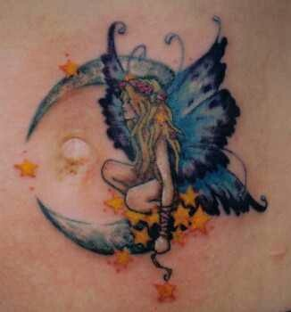 39 fairy tattoos with moon. Black Bedroom Furniture Sets. Home Design Ideas