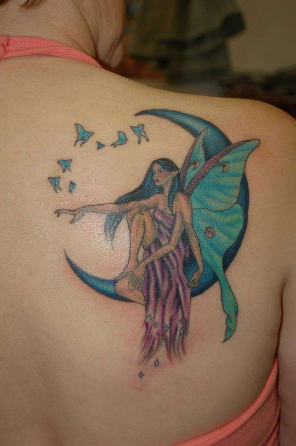 38 fairy tattoos on back shoulder for Half moon and star tattoo