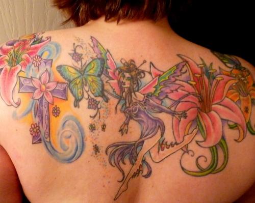 56 fairy tattoos on back. Black Bedroom Furniture Sets. Home Design Ideas