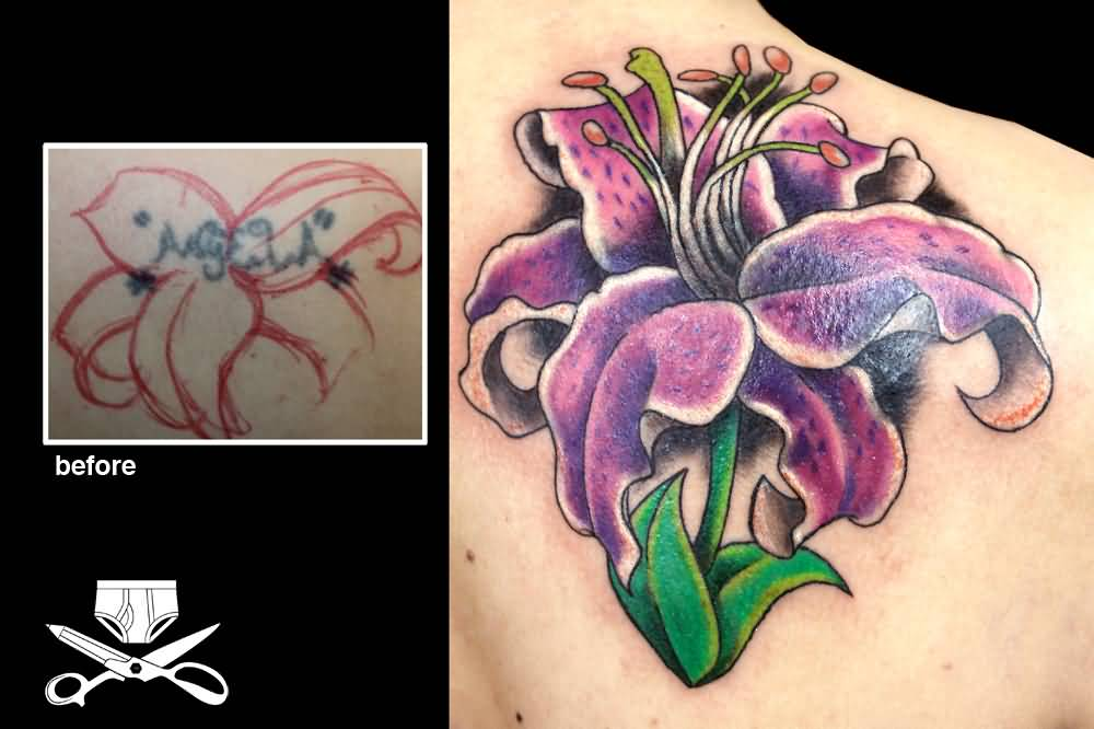 13f8c7f7461cd Colorful Lily Cover Up Tattoo Design For Right Back Shoulder