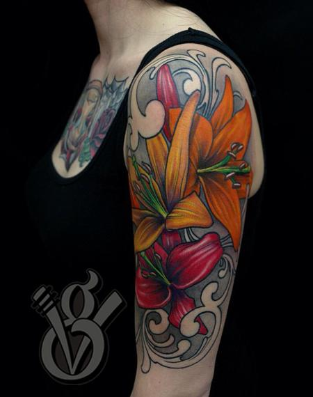 Colorful Lily Flower Tattoo On Women Left Half Sleeve
