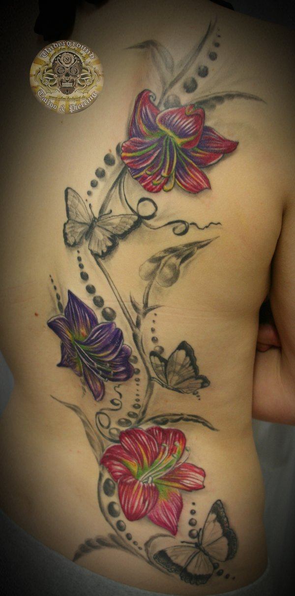 43 lily with butterfly tattoos ideas. Black Bedroom Furniture Sets. Home Design Ideas