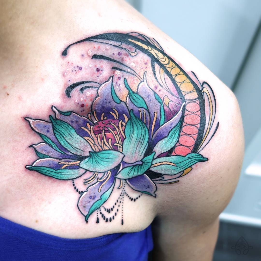 Colorful lotus flower tattoo on girl left front shoulder by anas allnt mightylinksfo