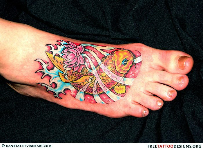 Colorful lotus flower with koi fish tattoo design mightylinksfo