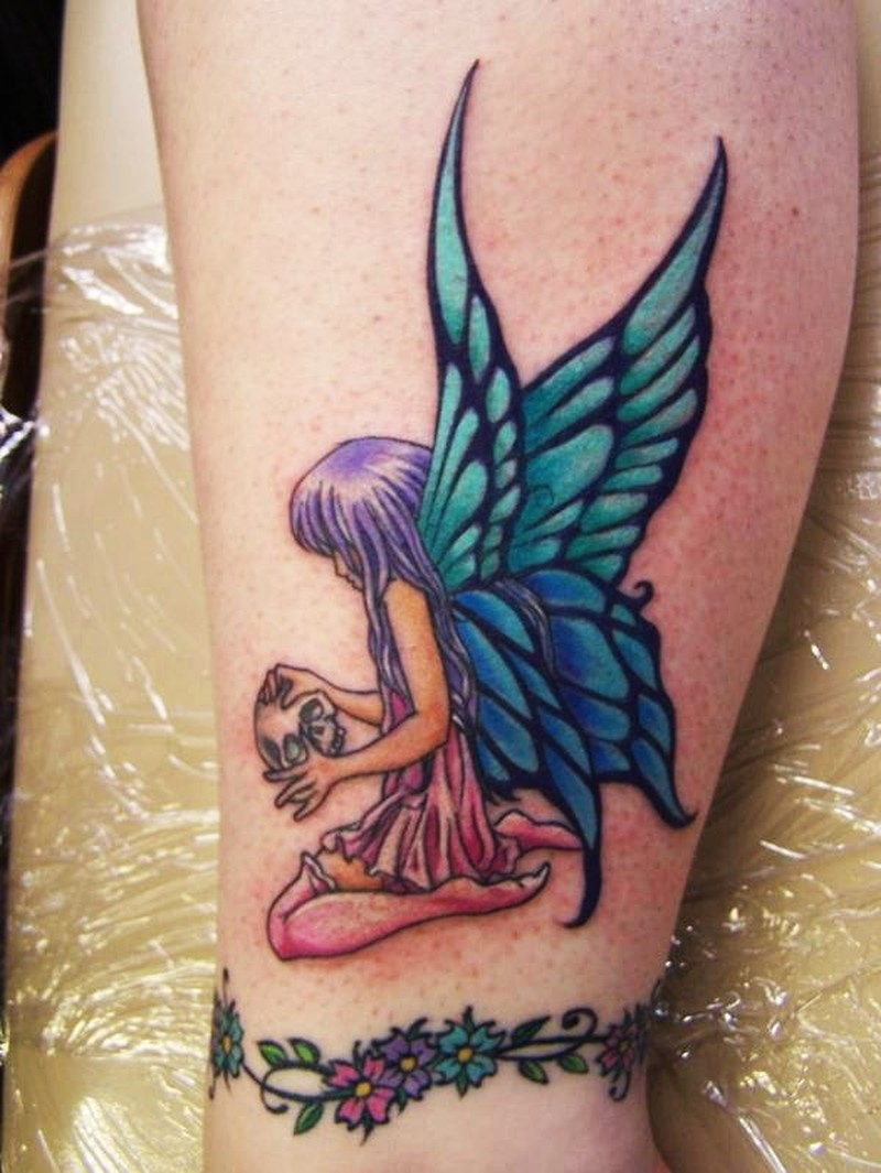 dcb2ea806 Colorful Realistic Fairy With Skull Tattoo Design For Leg
