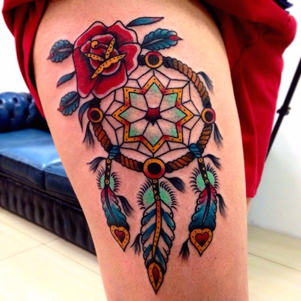 56 awesome colorful dreamcatcher tattoos for Colorful thigh tattoos