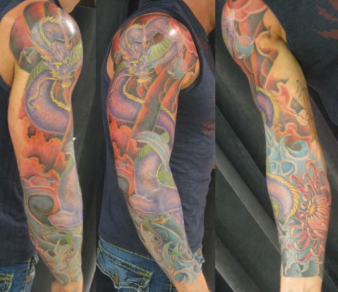 df4ba69d0a2c3 Colorful Traditional Snake Tattoo On Man Right Full Sleeve