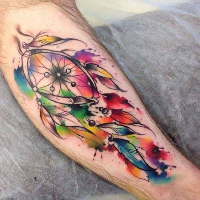 56 awesome colorful dreamcatcher tattoos for Watercolor dreamcatcher tattoo
