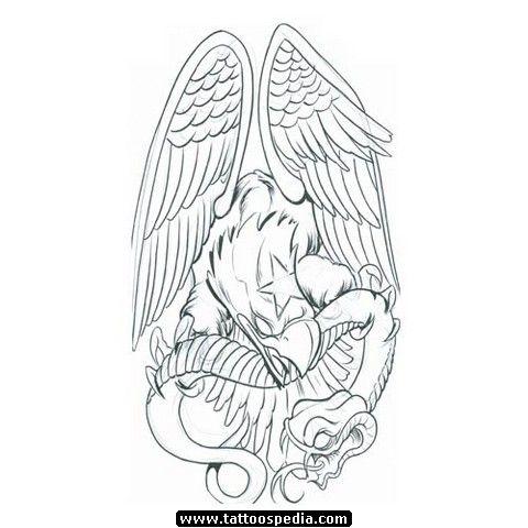 8332d0e2f Cool Black Ink Eagle With Snake Tattoo Design