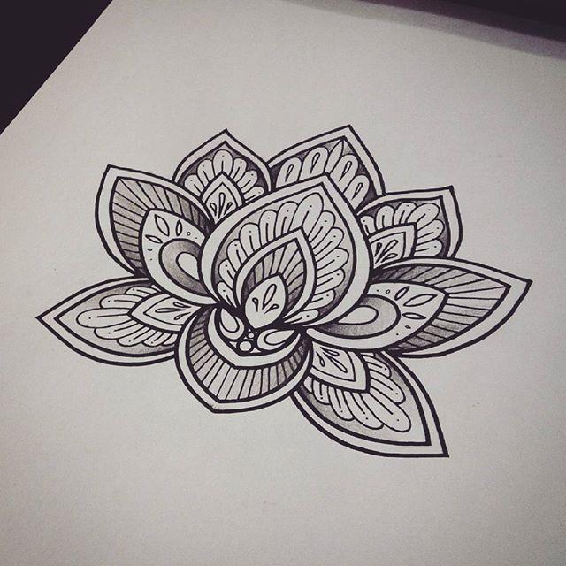 Cool Black Ink Mandala Lotus Tattoo Design