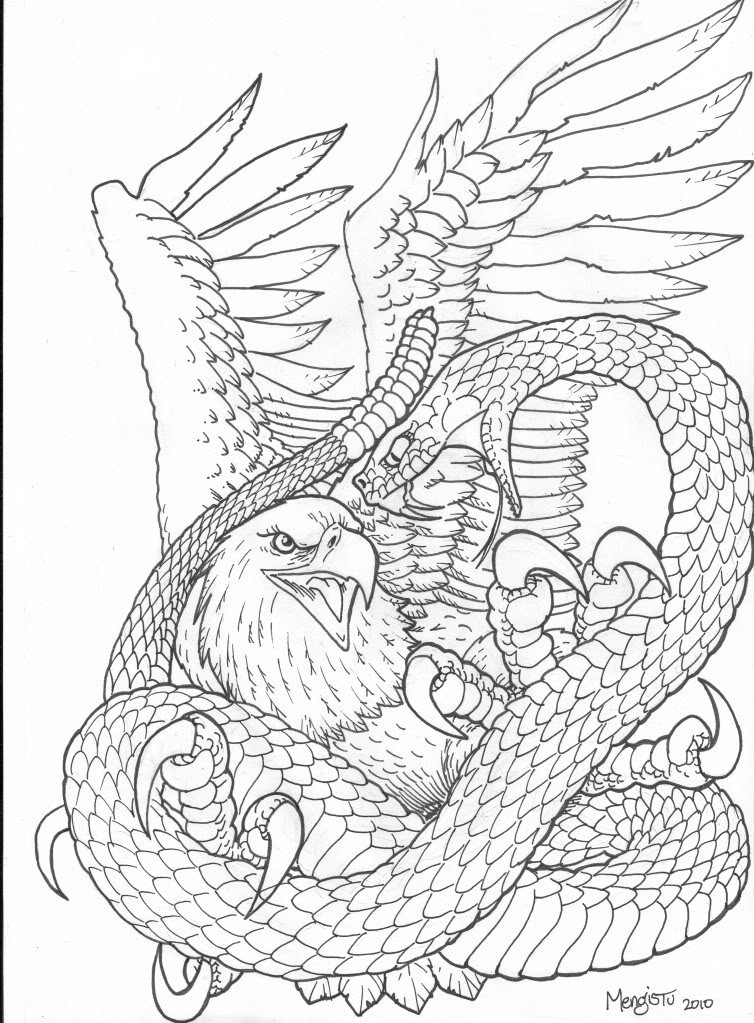 Snake Tattoo Line Drawing : Snake and eagle tattoos collection
