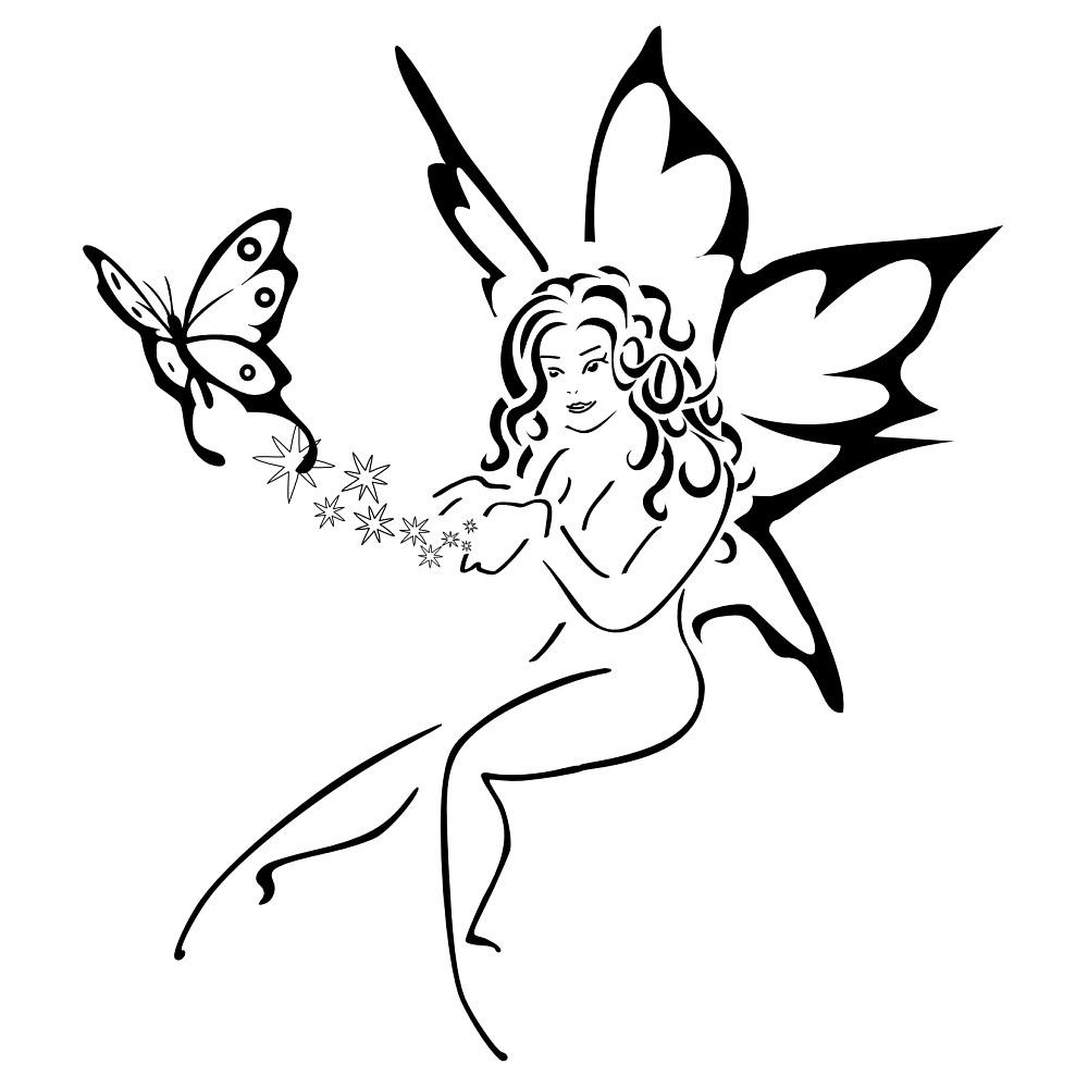 30 fairy with butterfly tattoos. Black Bedroom Furniture Sets. Home Design Ideas