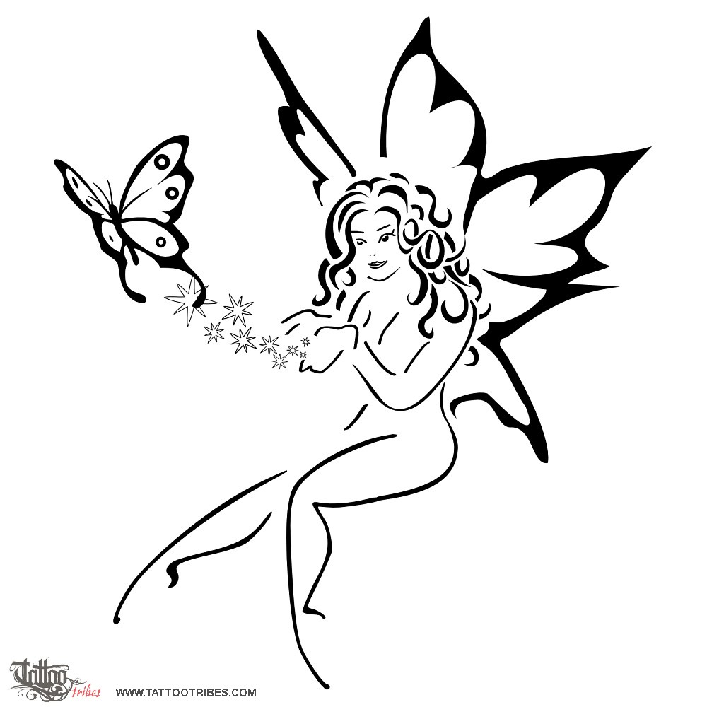 cool black outline flying fairy with butterfly tattoo stencil